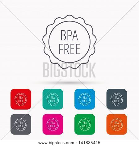 BPA free icon. Bisphenol plastic sign. Linear icons in squares on white background. Flat web symbols. Vector