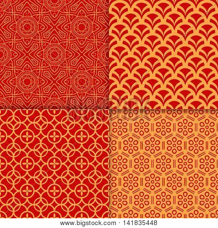Chinese red geometric pattern set. Vector illustration
