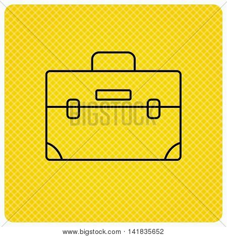 Briefcase icon. Businessman case or diplomat sign. Hand baggage symbol. Linear icon on orange background. Vector