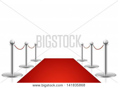 Red carpet vector illustration. Awards show background with carpet path, entrance to event premiere on red carpet