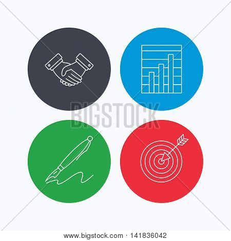 Handshake, graph charts and target icons. Pen linear sign. Linear icons on colored buttons. Flat web symbols. Vector