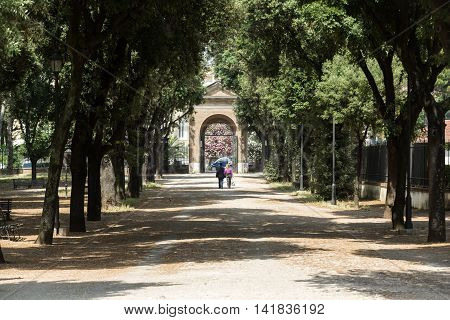 ROME ITALY - JUNE 14 2015: Walking route of the Villa Borghese Gardens Park . Rome Italy