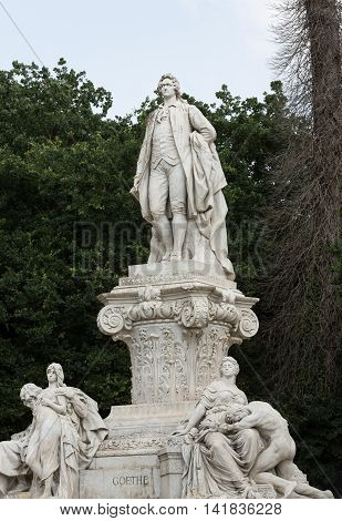 ROME ITALY - JUNE 14 2015: Goethe statue at Villa Borghese in Rome Italy