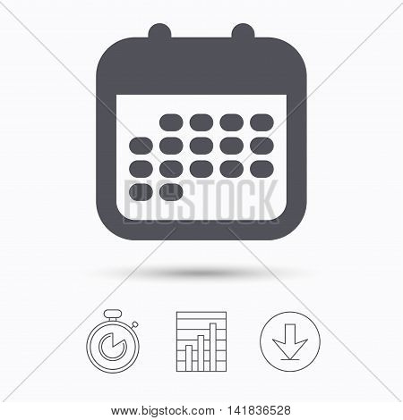 Calendar icon. Events reminder symbol. Stopwatch, chart graph and download arrow. Linear icons on white background. Vector