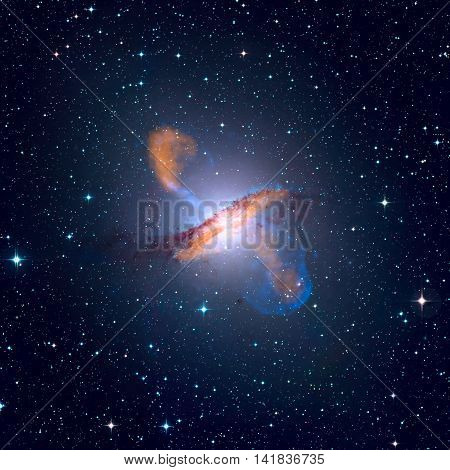 Centaurus A or NGC 5128 is a prominent galaxy in the constellation of Centaurus. Retouched image. Elements of this image furnished by NASA.