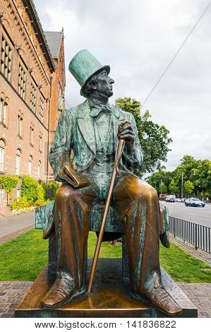 Copenhagen Denmark - July 20 2015: The Hans Christian Andersen monument in the City Hall square
