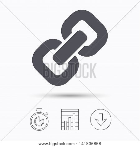 Chain icon. Internet web hyperlink symbol. Stopwatch, chart graph and download arrow. Linear icons on white background. Vector
