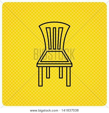 Chair icon. Seat furniture sign. Linear icon on orange background. Vector