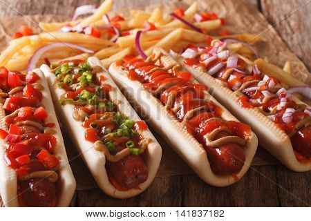 Takeaway: Hot Dogs And French Fries On The Table. Horizontal