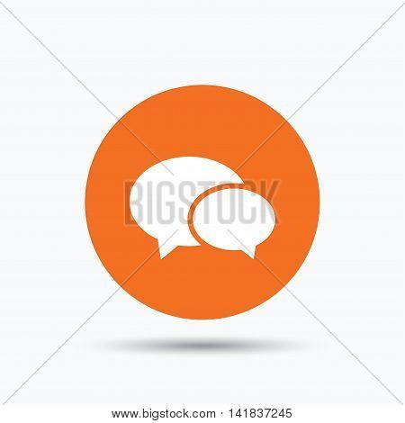 Chat icon. Speech bubble symbol. Orange circle button with flat web icon. Vector