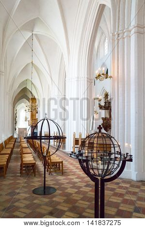 Odense Denmark - July 21 2015: The side nave of the gothic St. Canute's Cathedral