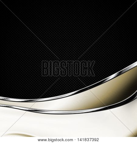 black carbon fiber and curve chromium frame. metal background. material design. 3d illustration.