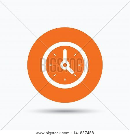 Clock icon. Mechanical watch symbol. Orange circle button with flat web icon. Vector
