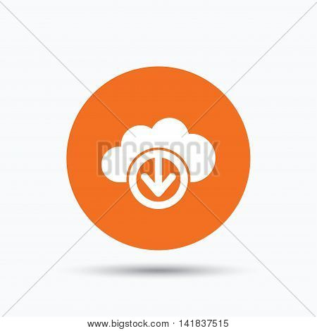 Download from cloud icon. Data storage technology symbol. Orange circle button with flat web icon. Vector