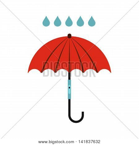 Umbrella and rain icon in flat style isolated on white background. Weather symbol