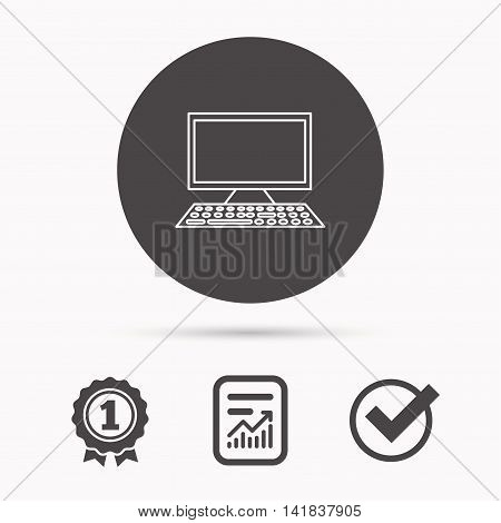 Computer PC icon. Widescreen display sign. Report document, winner award and tick. Round circle button with icon. Vector