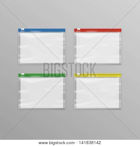 Vector Set of Colored Red Blue Green Yellow Sealed Empty Transparent Plastic Zipper Bags Close up Isolated on Background