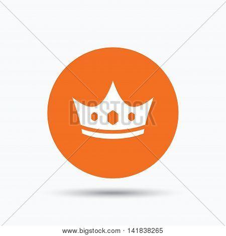 Crown icon. Royal throne leader symbol. Orange circle button with flat web icon. Vector
