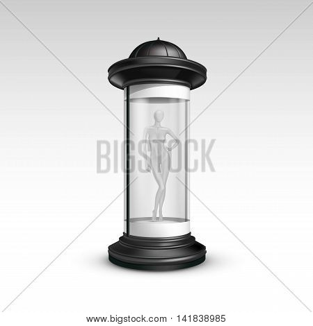 Vector Black Transparent  Poster Stand Pillar for Outdoor Advertising with Female Mannequin in it on Isolated White Background
