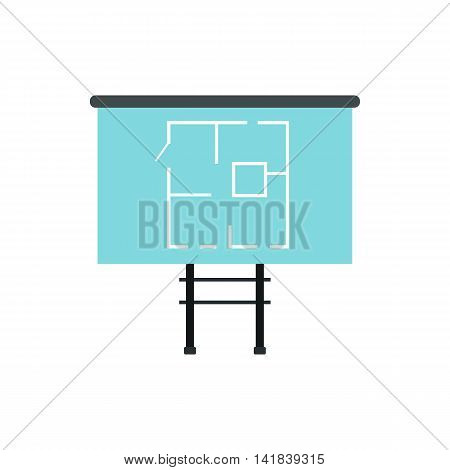 Stand with house project icon in flat style isolated on white background. Drawing symbol