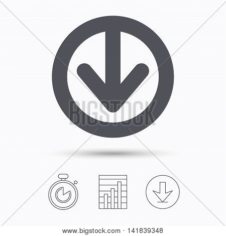 Download icon. Load internet data symbol. Stopwatch, chart graph and download arrow. Linear icons on white background. Vector