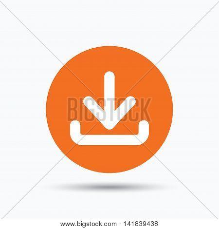 Download icon. Load internet data symbol. Orange circle button with flat web icon. Vector