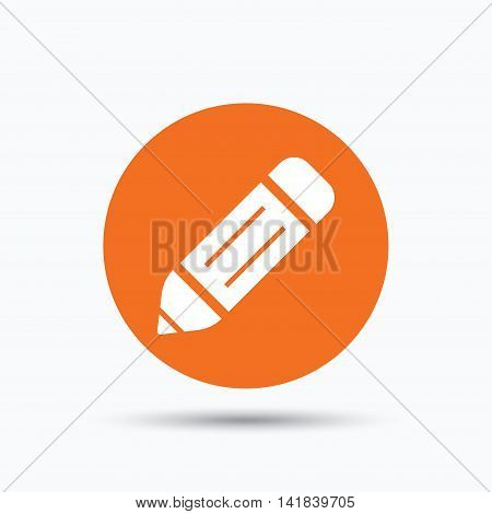 Edit icon. Pencil for drawing symbol. Orange circle button with flat web icon. Vector
