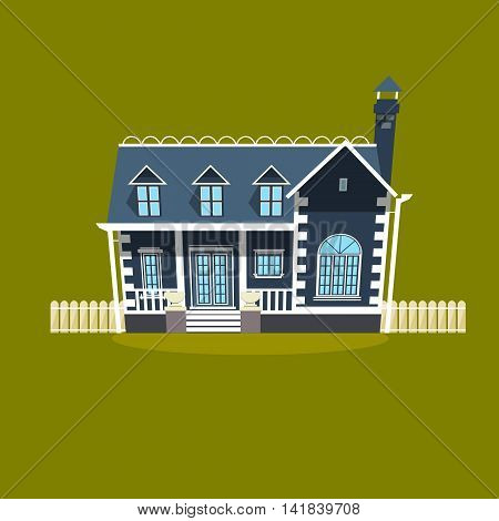 House building flat style. Cartoon colorful vector illustration