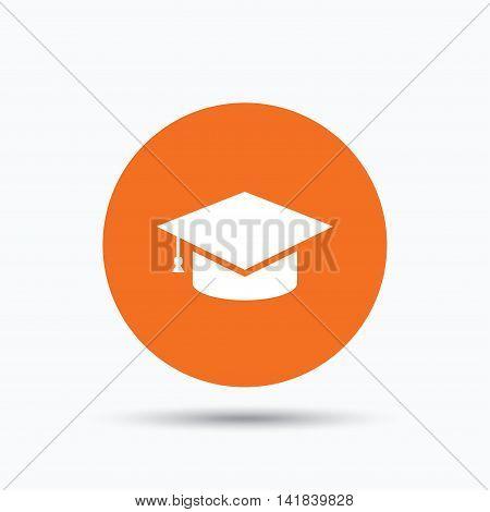 Education icon. Graduation cap symbol. Orange circle button with flat web icon. Vector