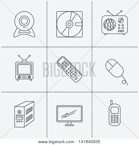 Web camera, radio and mobile phone icons. Monitor, PC case and TV remote linear signs. Hard disk and PC mouse icons. Linear icons on white background. Vector