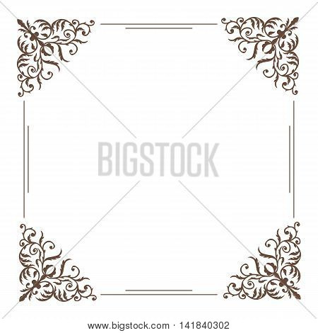 Decorative square frame vintage style for greeting or invitation card