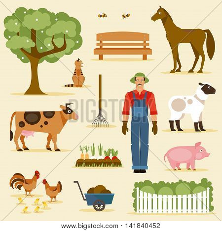 Farmer and farm animals agriculture and garden