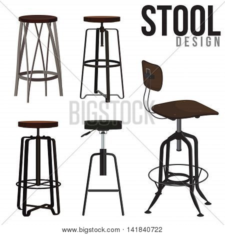 Illustations Interior of the bar stool vector