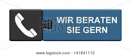 Isolated Puzzle Button with symbol is showing We like to help you in german language
