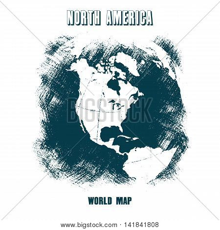 World map north america in grunge style. Distressed texture.