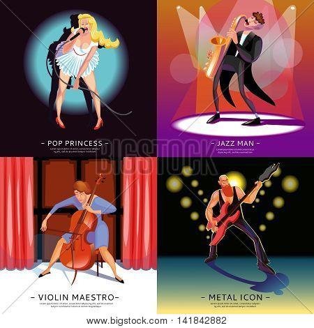 Music 2x2 concept banners presenting pop princess jazz man violin maestro and metal icon cartoon vector illustration