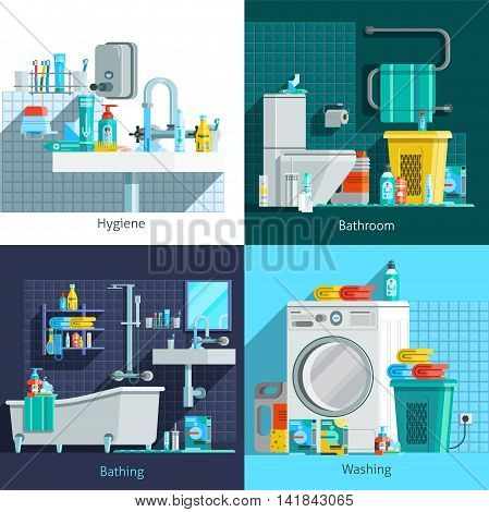 Orthogonal hygiene icons 2x2 flat concept set of hygiene bathroom washing and bathing design compositions vector illustration