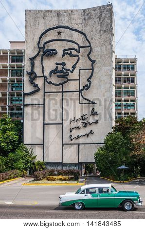 HAVANA, CUBA - MARCH 18, 2016: Che Guevara on the wall in the Revolution Square in Havana Cuba