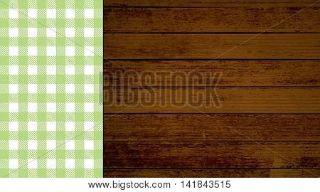 Rustic retro background with old brown wooden planks and green white tablecloth