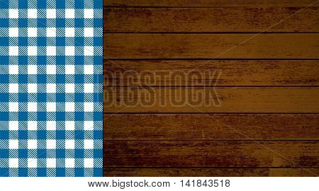 Rustic retro background with old brown wooden planks and blue white tablecloth