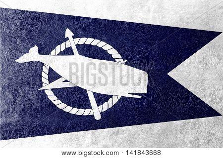 Flag Of Nantucket, Massachusetts, Usa, Painted On Leather Texture