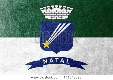 Flag Of Natal, Rio Grande Do Norte, Brazil, Painted On Leather Texture