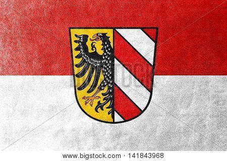 Flag Of Nuremberg, Germany, Painted On Leather Texture