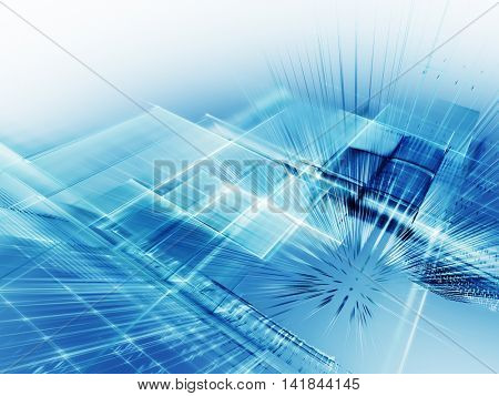 Abstract background element. Fractal graphics series. Three-dimensional composition of intersecting grids. Information technology concept. Blue and white colors.