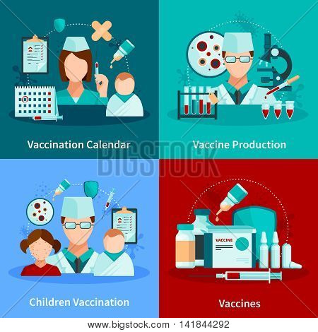 Vaccination flat 2x2 design concept with vaccination calendar and set of medical tools and vaccine products vector illustration