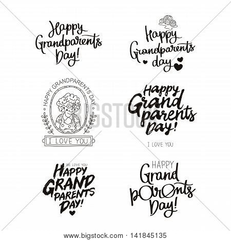Set quotes about happy grandparents day! The trend calligraphy. Vector illustration on white background.