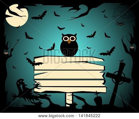 Halloween background with owl and board, Happy Halloween