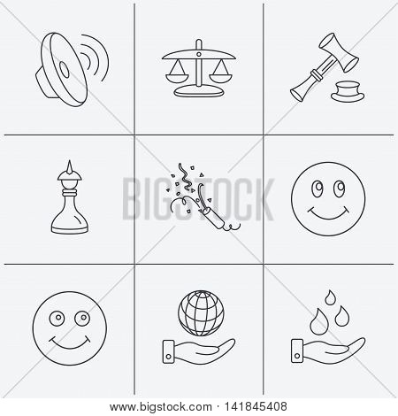 Scales of justice, auction hammer and strategy icons. Save planet and water linear signs. Smile, slapstick icons. Linear icons on white background. Vector