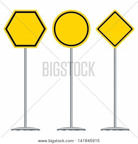 Traffic sign design. Black and yellow traffic sign design.