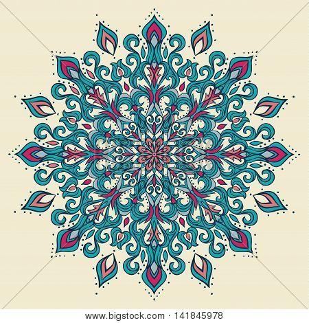 Ornamental mandala. Hand drawn vector decorative elements